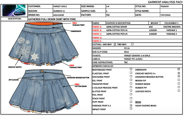 Free garment spec sheet template.